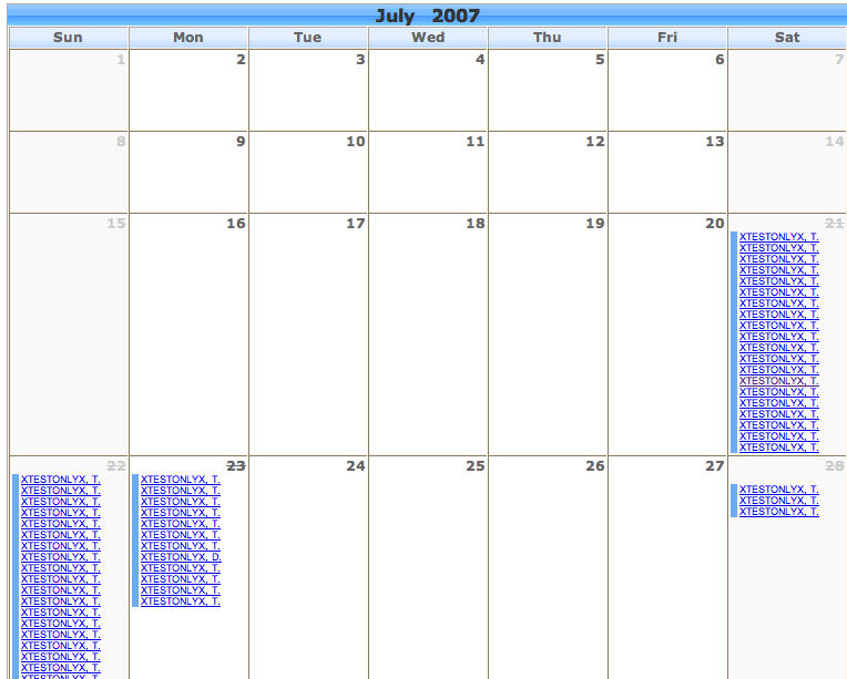 GTs Calendar