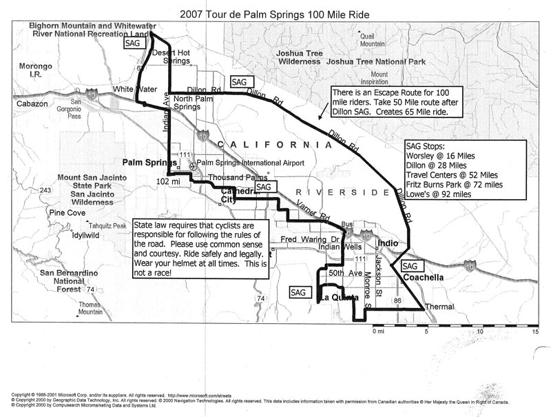 Tour De Palm Springs Route Map
